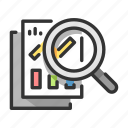 analysis, analytics, data, graph, magnifying, report, research icon