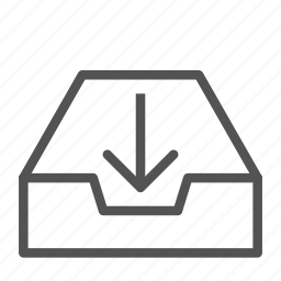 arrow, box, container, document, down, file icon