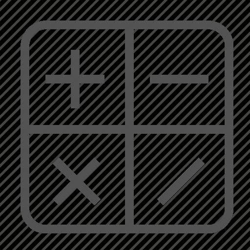 algebra, mathematics, operations icon