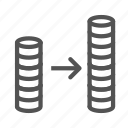 arrow, coin, income, increase, money icon