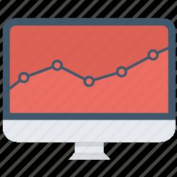 chart, computer, diagram, graph, marketing, screen, statistics icon