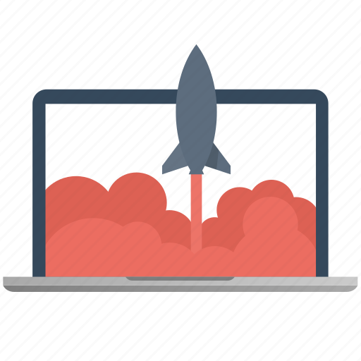 computer, laptop, launch, marketing, rocket, screen, seo icon