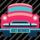 car, honeymoon, love, transport, trip, wedding car icon