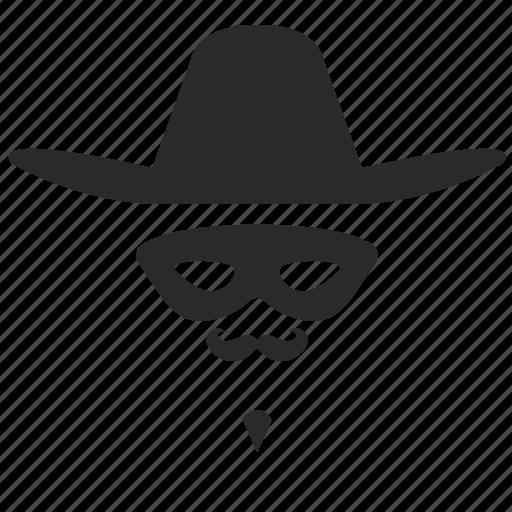 face, hat, hero, mask, zorro icon
