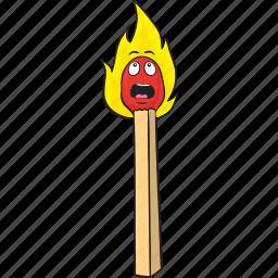 cartoon, emoji, matches, matchstick, smiley icon