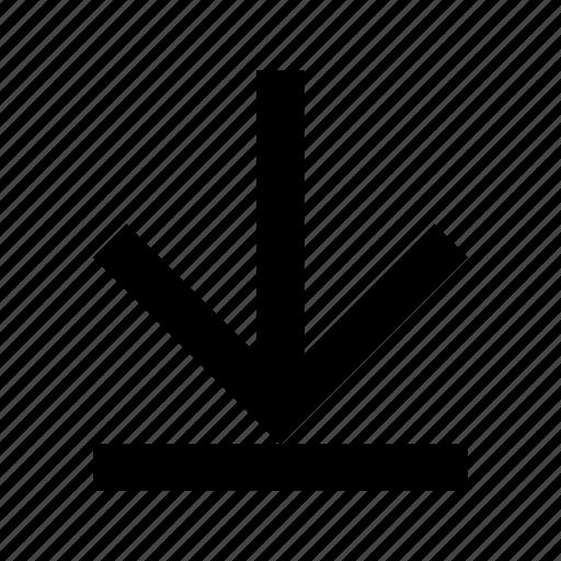 arrow, down, end icon