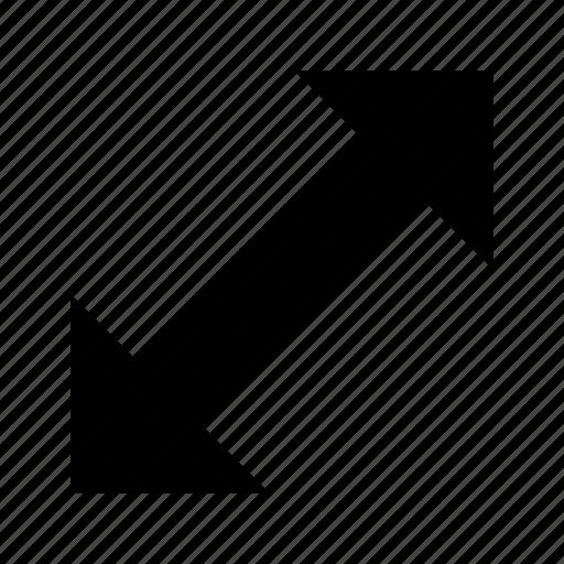 arrow, diagonal, resize icon