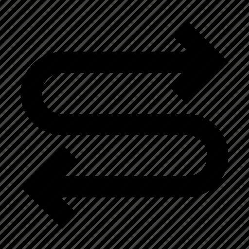 arrow, lap, route, twoway icon