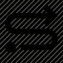 arrow, forward, lap, oneway, route icon