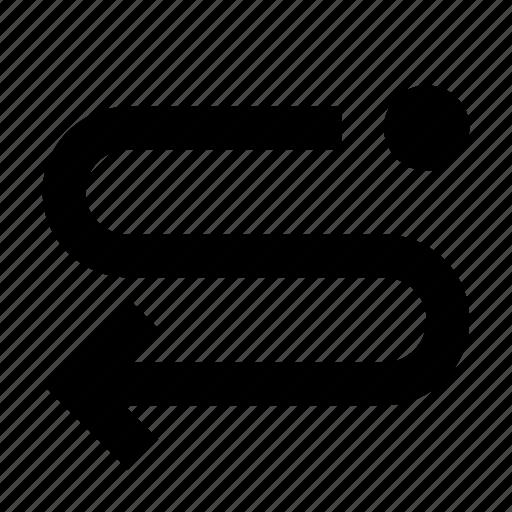 arrow, back, lap, oneway, route icon