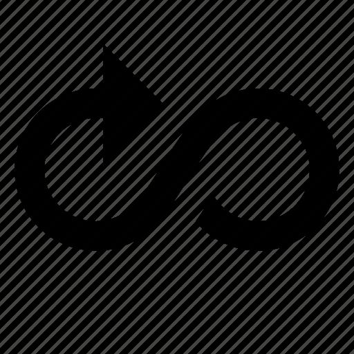 arrow, infinity icon