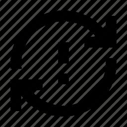 arrow, error, sync, synchronization, warning icon