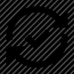 arrow, done, finished, ok, sync, synchronization icon