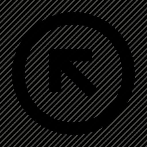 arrow, left up, round icon