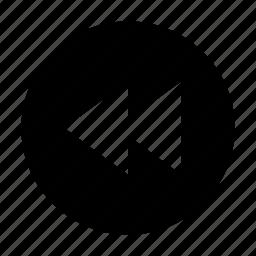 arrow, back, player, rewind icon