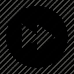 arrow, forward, player icon