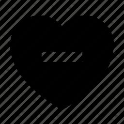 favorite, heart, love, minus icon