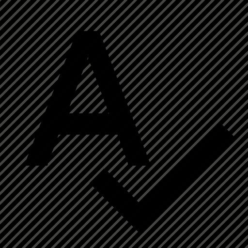 alphabet, complete, letter, spellcheck icon