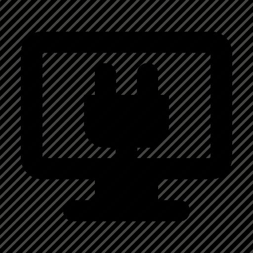 display, plug, tv icon