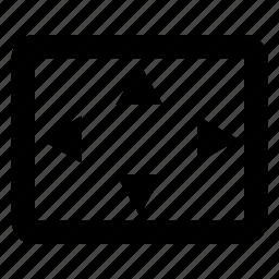 fullscreen, maximize, overscan, settings icon