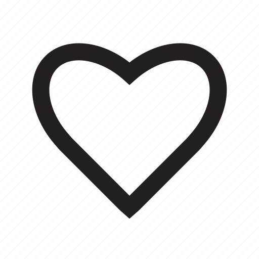 design, heart, love, middle, shape, strokes, valentine icon