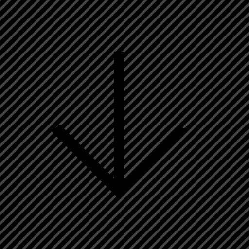 arrow, backward, down, south icon