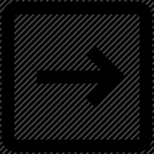 arrow, box, forward, material, right, right arrow, square icon