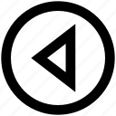 arrow, circle, left, media, triangle icon