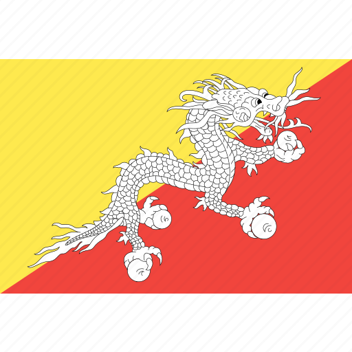 bhutan, country, flag, nation, world icon