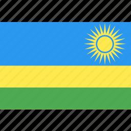 country, flag, nation, rwanda, world icon