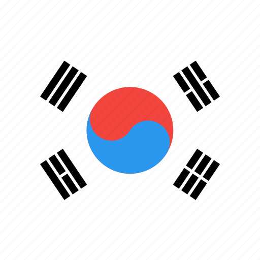 country, flag, korea, nation, south, world icon