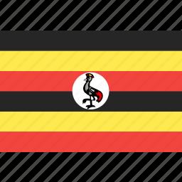 country, flag, nation, uganda, world icon