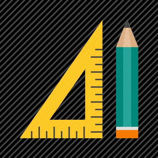 geometry, math, pencil, protractor, school, set, square icon