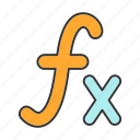 algebra, formula, function, fx, mathematics, maths, sign icon