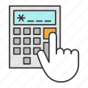 accounting, calculate, calculator, count, hand, maths, numbers icon