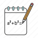 algebra, formula, function, math, mathematics, notebook, rough draft icon
