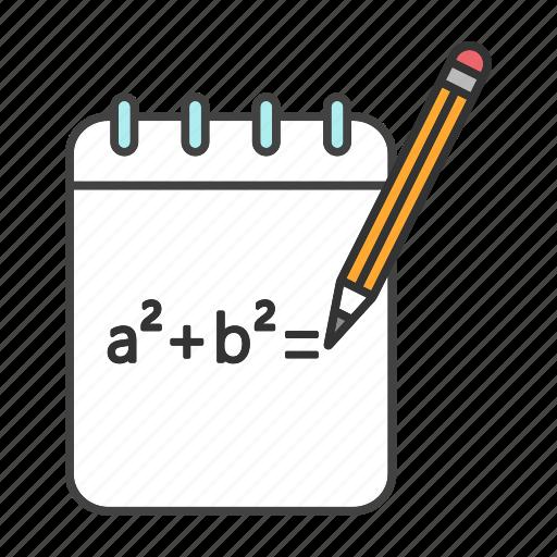 algebra, formula, function, math, mathematics, notebook, rough draft icon