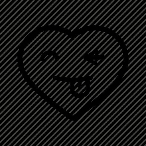 emoji, funny, goofy, heart, love, romantic, smiley icon