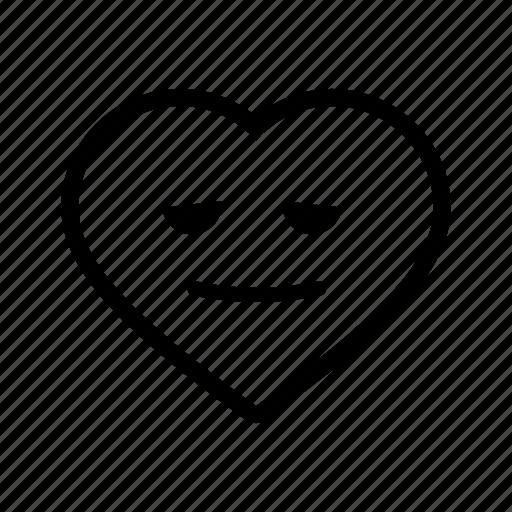 emoji, emotion, happy, heart, mellow, smile, valentine icon