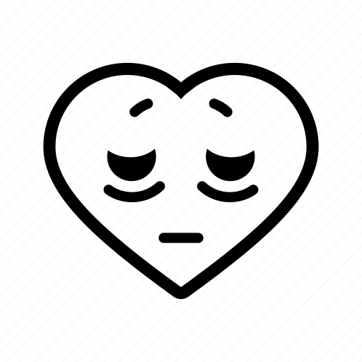 emoji, heart, romance, romantic, sad, sick, tired icon