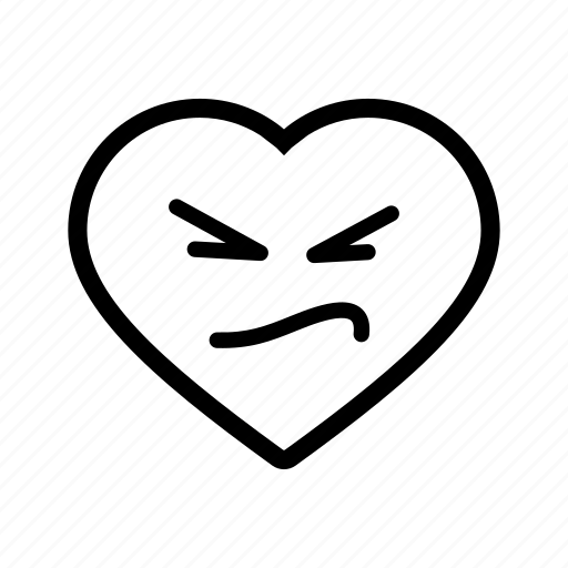 angry, emoji, emoticon, heart, love, romance, valentines icon