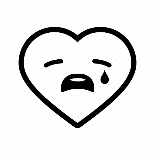 emoji, heart, love, romance, sad, tears, valentine icon