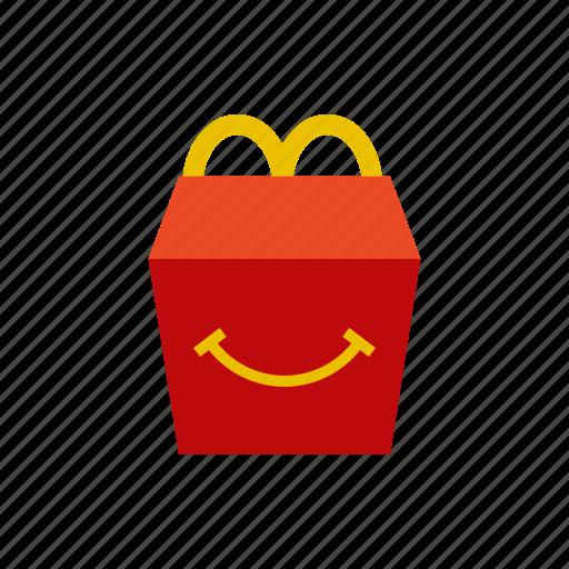 box, fast, food, happy meal, mc donalds, menu, smile icon
