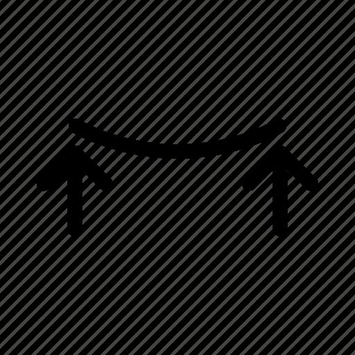 bend, curve, incurvate, reflex icon