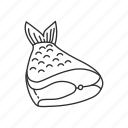fish, fish meat, fish tail, food, meat, meat cut, sliced fish icon