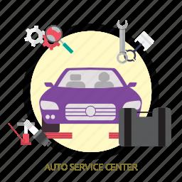 auto, auto service center, center, service icon