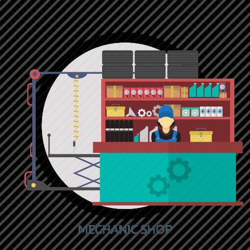 business, garage, mechanic, mechanic shop, shop, sticker icon