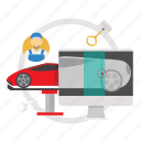 car, problem, scaning, scaning car problem icon