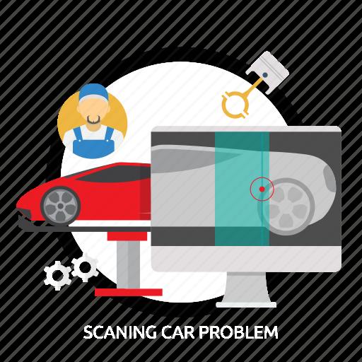 car, problem, scaning, scaning car problem icon
