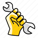 fist, hand, mechanic, mechanical, repair, wrench icon